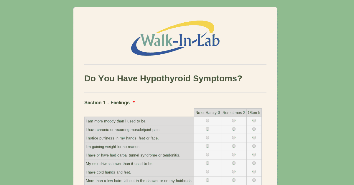 Hypothyroid Symptom Assessment